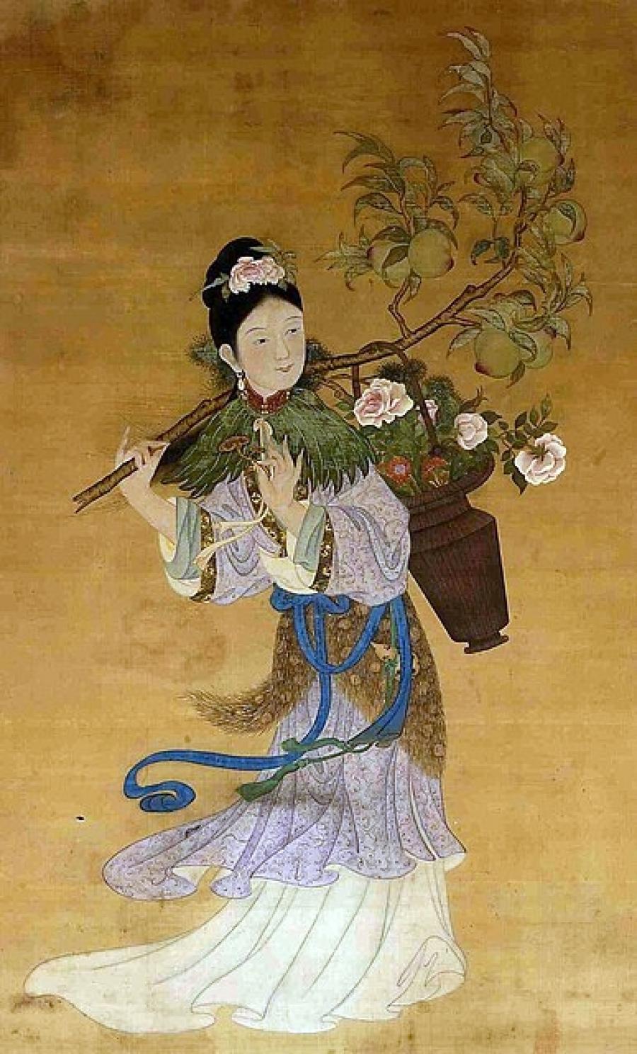 Мъ-гу, богинята на долголетието, свитък от XVIII век
