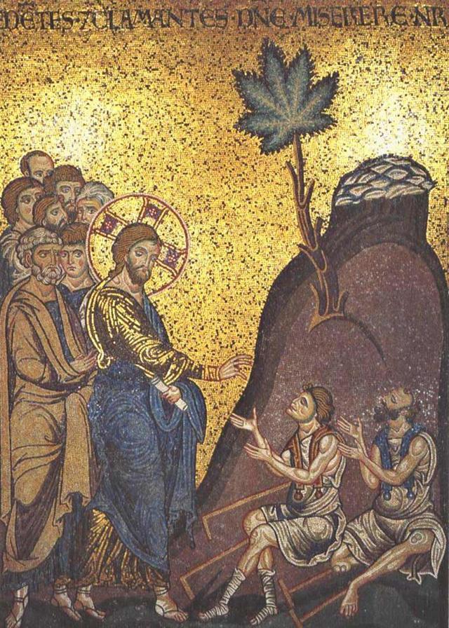 """""""Исус изцелява слепец"""", Мозайка от XII в.  Катедрален събор """"Санта Мария Нуова"""" в град Монреале (Сицилия, Италия)"""